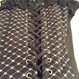 Tripp nyc Tops - TRIPP NYC Grommet corset purple & black camisole L